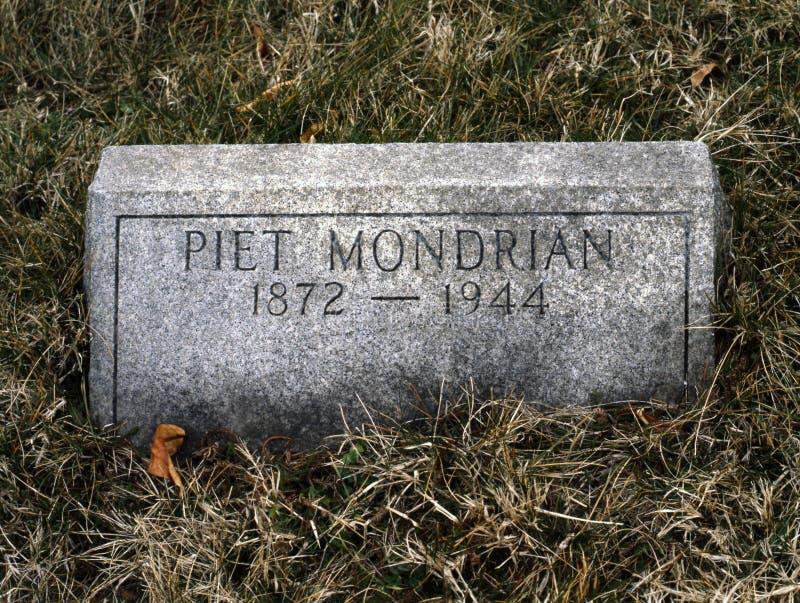 La tomba del pittore olandese di fama mondiale Piet Mondrian immagine stock libera da diritti