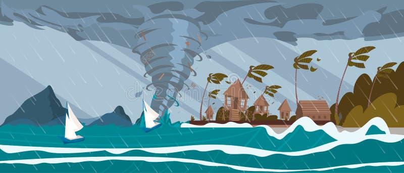 La tornade de l'ouragan de mer va sur les Chambres tropicales illustration stock