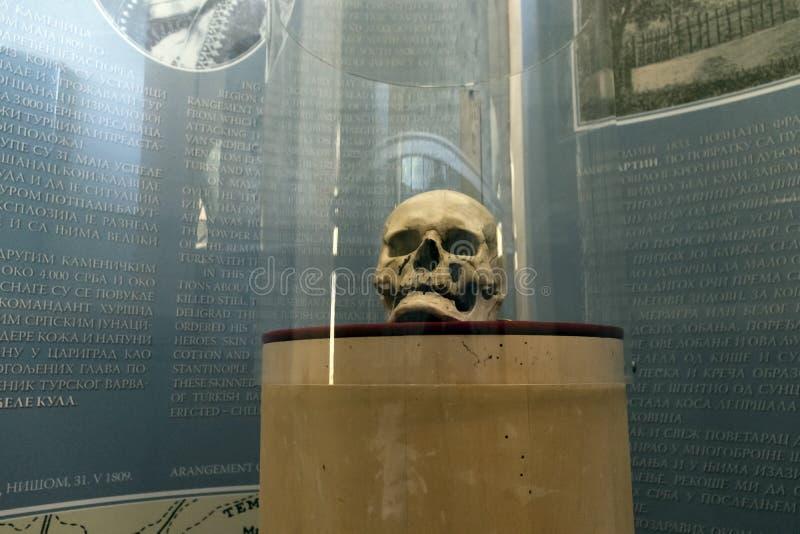 La torre Cele Kula del cranio - costruito dai 3000 crani dei guerrieri serbi morti dopo la rivolta in 1 fotografie stock