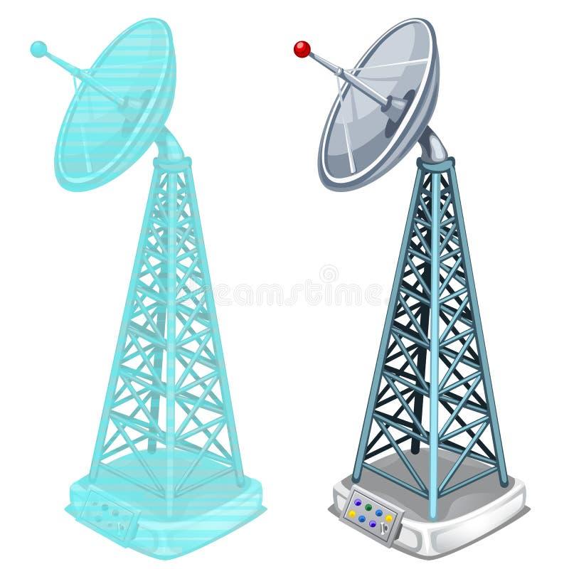 La torre de antena del holograma, dos aisló artículos stock de ilustración