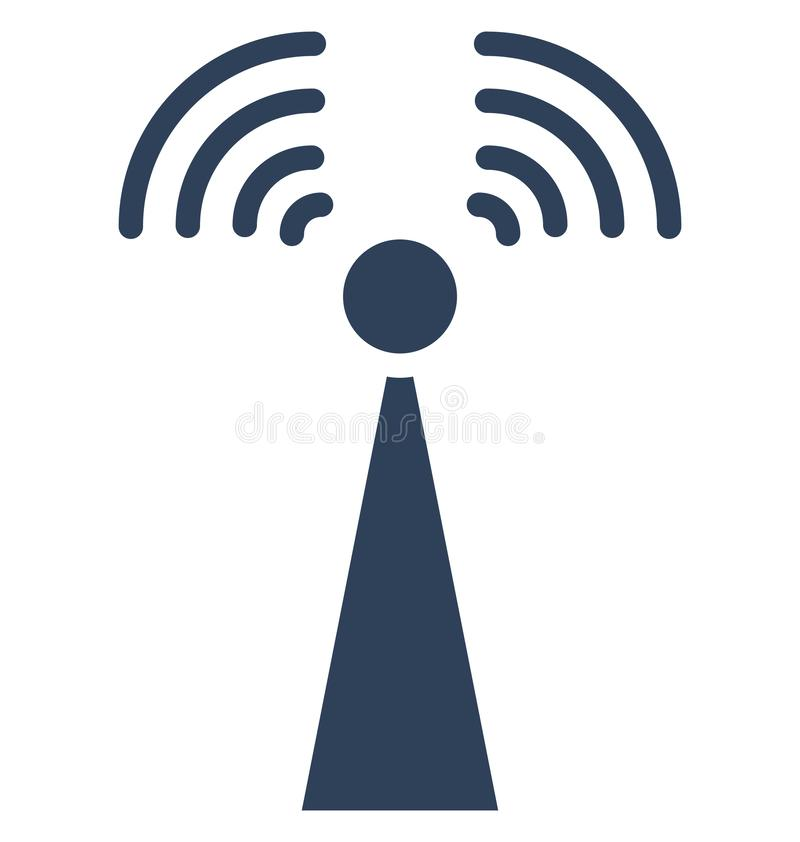 La torre de comunicación, torre de la señal aisló el icono del vector que puede ser corregido fácilmente en cualquier tamaño o se ilustración del vector