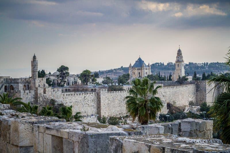 La torre de David y la abadía de Dormition en Jerusalén, Israel fotografía de archivo libre de regalías