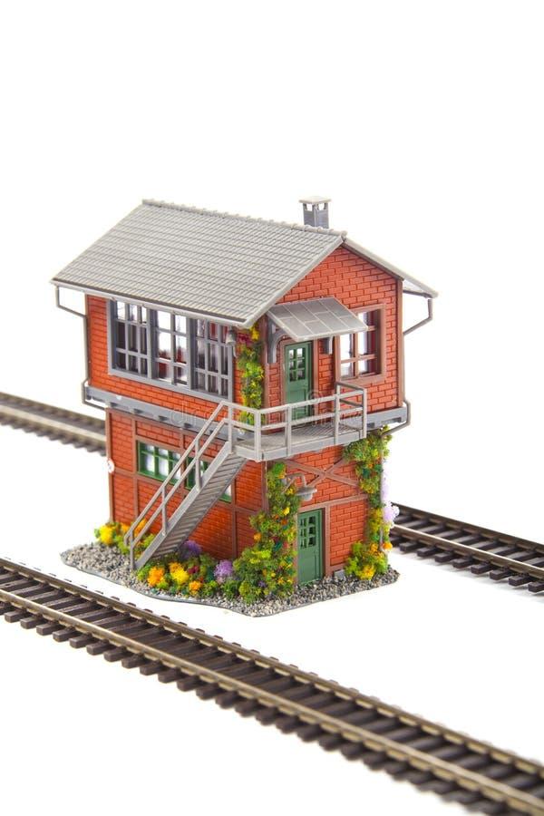 La torre de envío para el modelo ferroviario imagenes de archivo