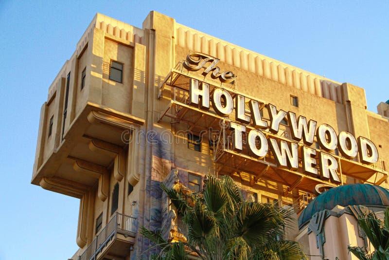 La torre de la zona crepuscular del hotel de la torre de Hollywood del terror imagen de archivo