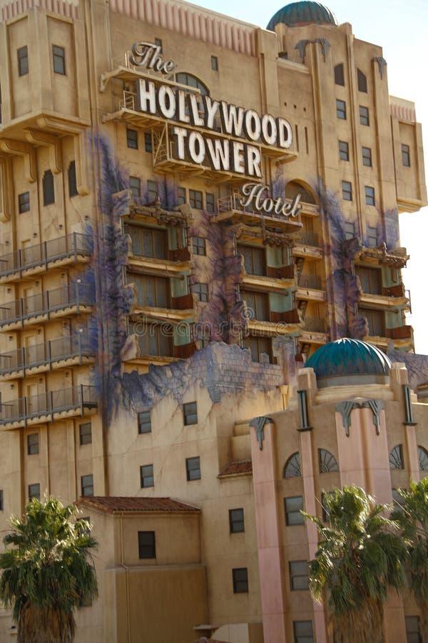 La torre de la zona crepuscular del hotel de la torre de Hollywood del terror imagen de archivo libre de regalías