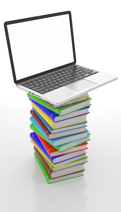 La torre de libros encendido remata un ordenador portátil, concepto de la educación stock de ilustración