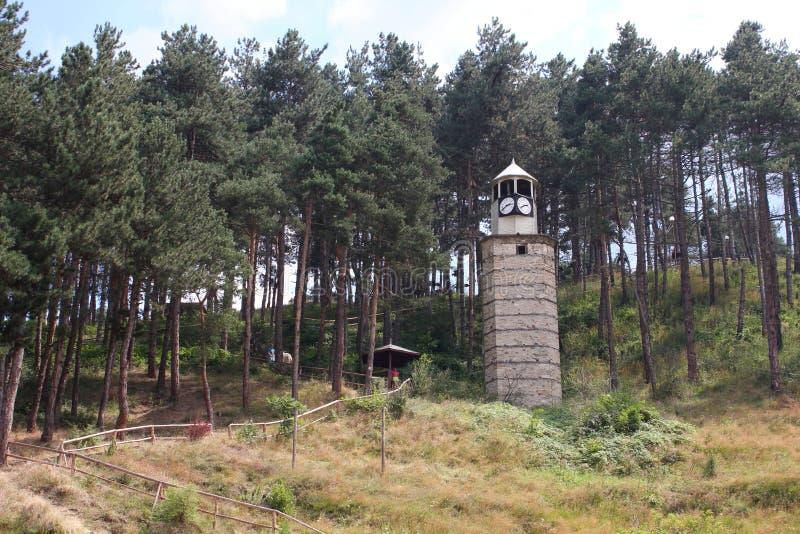 La torre de reloj en la ciudad de Rakitovo fotos de archivo libres de regalías