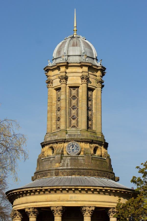 La torre decorata della chiesa unita della riforma di Saltaire immagine stock