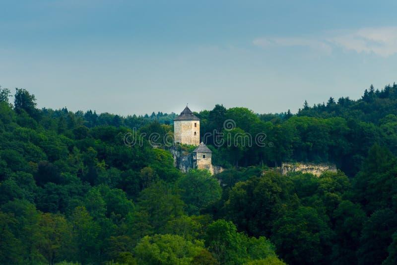 La torre del castello fra gli alberi nel parco del ³ w di Ojcà fotografia stock