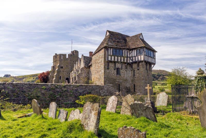 La torre del nord, castello di Stokesay, Shropshire, Inghilterra immagine stock libera da diritti