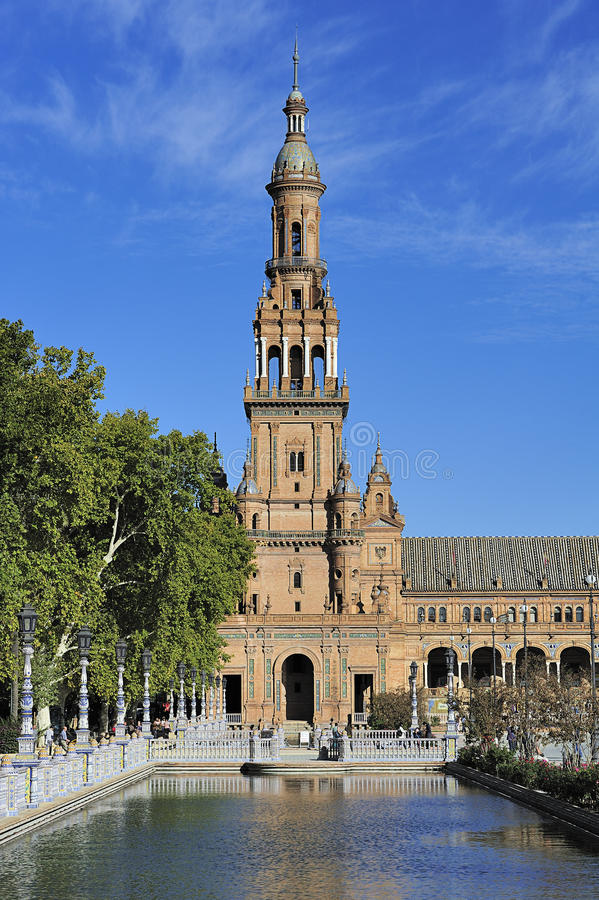 La plaza de Espana (cuadrado) de España, Sevilla, España foto de archivo libre de regalías