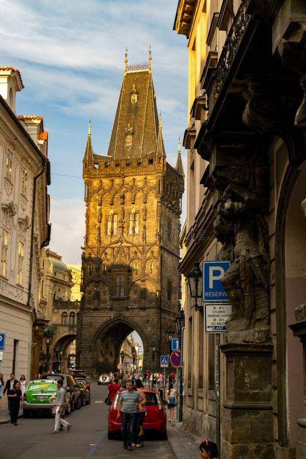 La torre del polvo en Praga fotografía de archivo libre de regalías