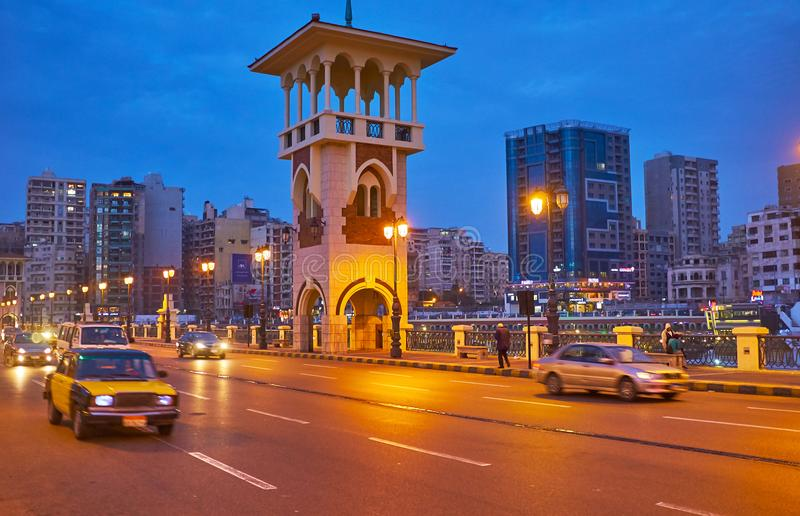 La torre del puente de Stanley, Alexandría, Egipto fotografía de archivo libre de regalías