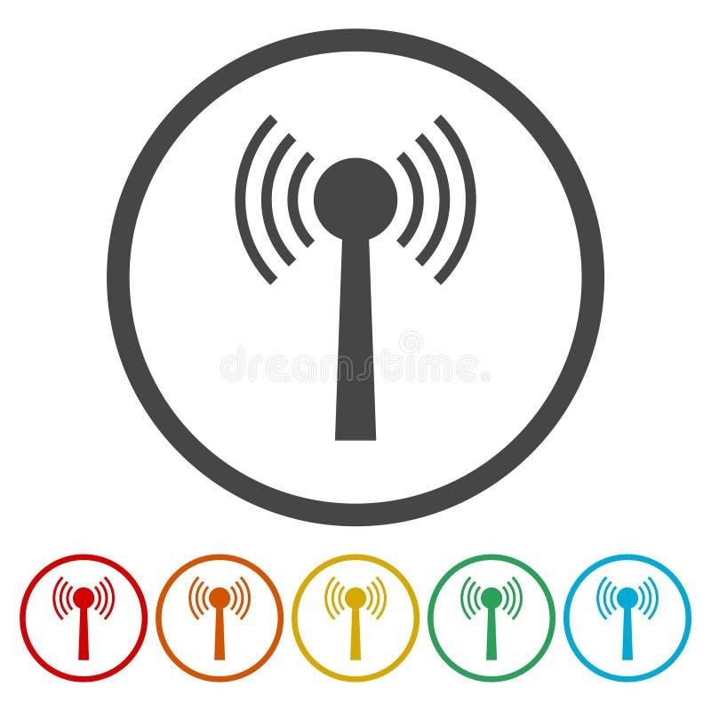 La torre del Wi-Fi Icono del transmisor Icono de la antena libre illustration