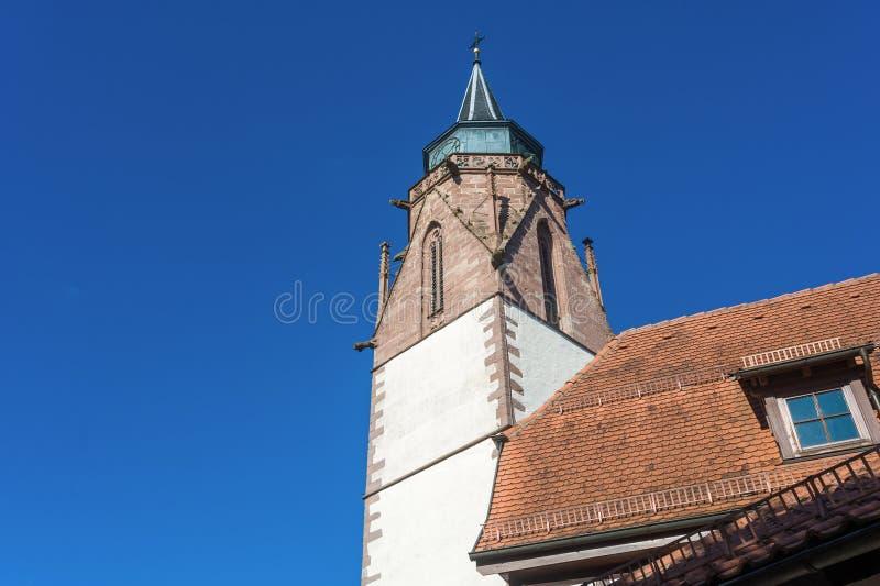 La torre della chiesa del Martin in Dornstetten fotografia stock