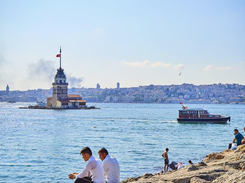 La torre della ragazza al Bosphorus Costantinopoli, Turchia immagini stock libere da diritti