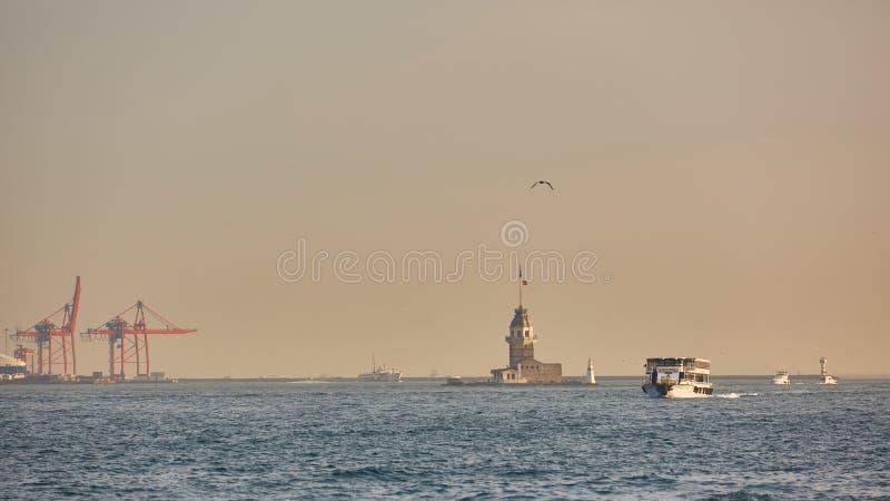 La torre delle ragazze Costantinopoli, Turchia fotografia stock libera da diritti