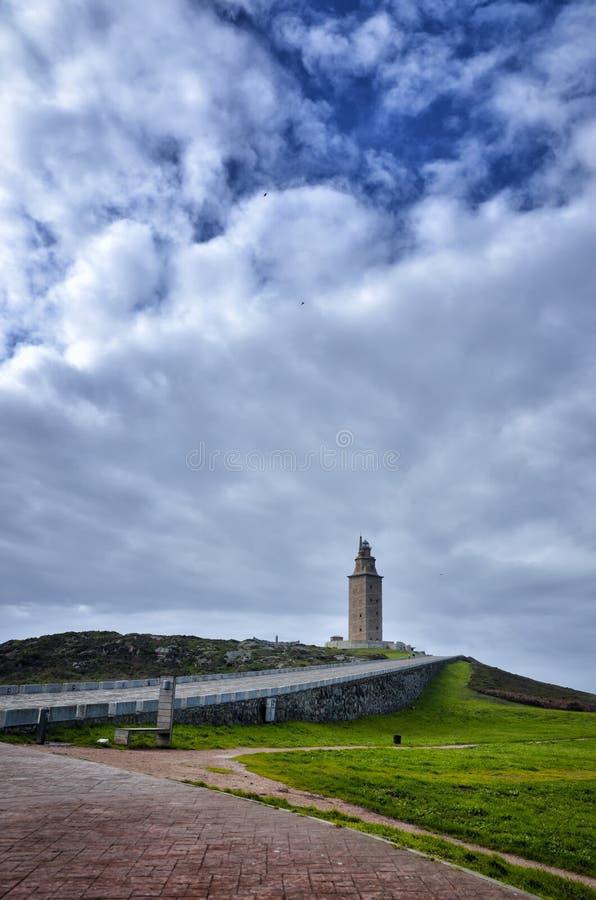 La torre di Ercole, è un faro romano antico vicino alla città di un ½ a del ¿ di Coruï, nel Nord della Spagna immagini stock libere da diritti