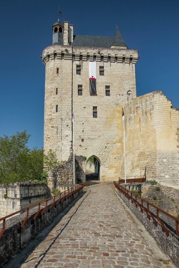 La torre di orologio Fortezza Chinon france fotografie stock libere da diritti