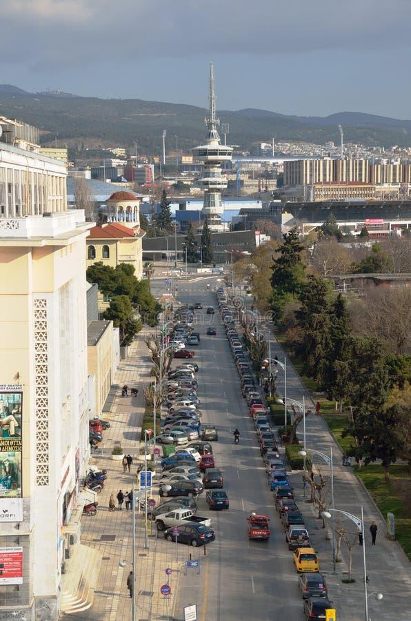 La torre di OTE a Salonicco ha progettato dall'architetto greco A Anastasiadis nel 1966 Vista dalla torre bianca immagini stock libere da diritti