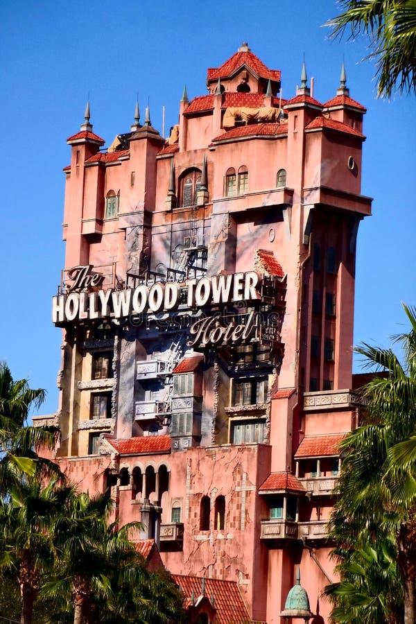 La torre di zona crepuscolare del terrore agli studi di Hollywood di Disney fotografia stock libera da diritti