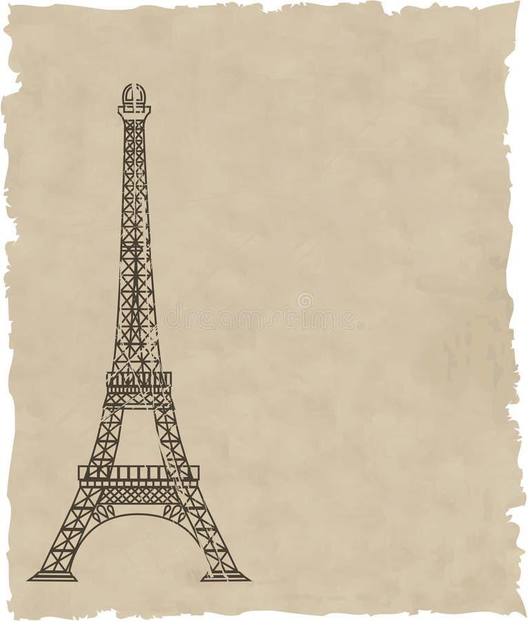 La Torre Eiffel di vettore su vecchio documento royalty illustrazione gratis