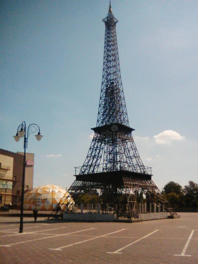 La torre Eiffel a Harkìv fotografie stock