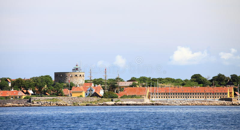 La torre grande Christiansoe Bornholm Dinamarca foto de archivo libre de regalías