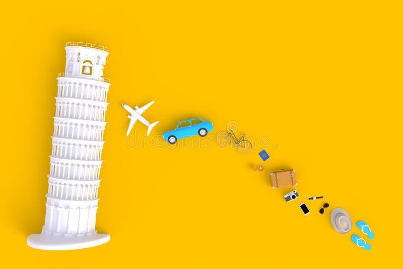 La torre inclinada de Pisa, Italia, Europa, arquitectura italiana, vista superior de los accesorios del viajero resume el fondo am libre illustration