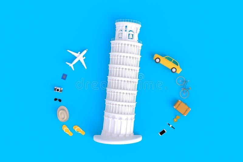 La torre inclinada de Pisa, Italia, Europa, arquitectura italiana, vista superior de los accesorios del viajero resume el fondo a stock de ilustración