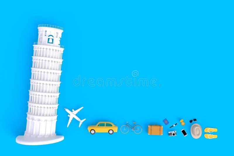 La torre inclinada de Pisa, Italia, Europa, arquitectura italiana, vista superior de los accesorios del viajero resume el fondo a ilustración del vector