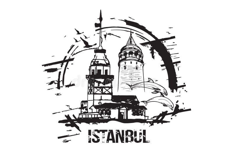La torre nubile Kiz Kulesi e Galata del ` s si eleva illustrazione di stock
