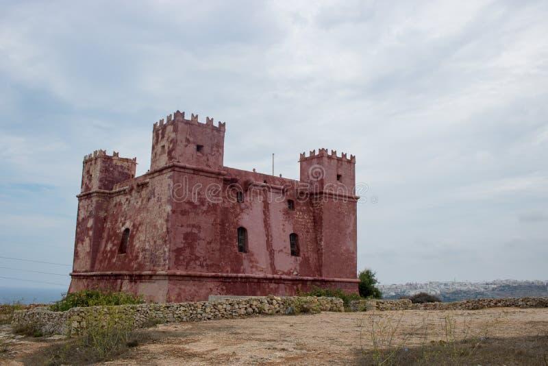 La torre roja en Malta foto de archivo