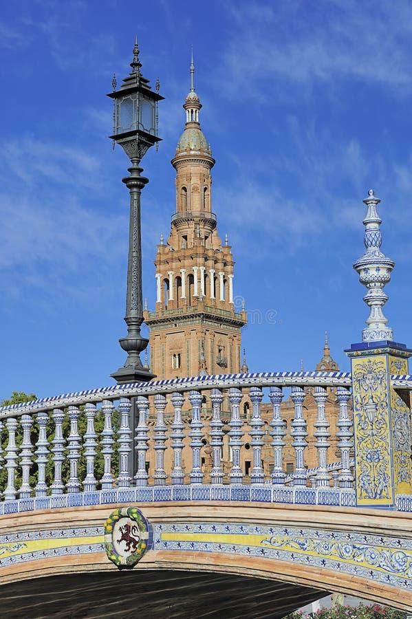 La plaza de Espana (cuadrado) de España, Sevilla, España imagen de archivo libre de regalías