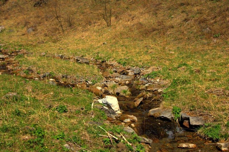 La torrente montano rapida sfocia nella valle fotografia stock