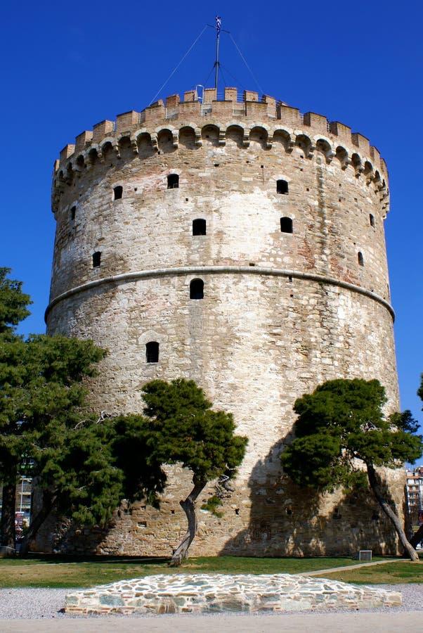 La torretta bianca alla città di Salonicco fotografia stock