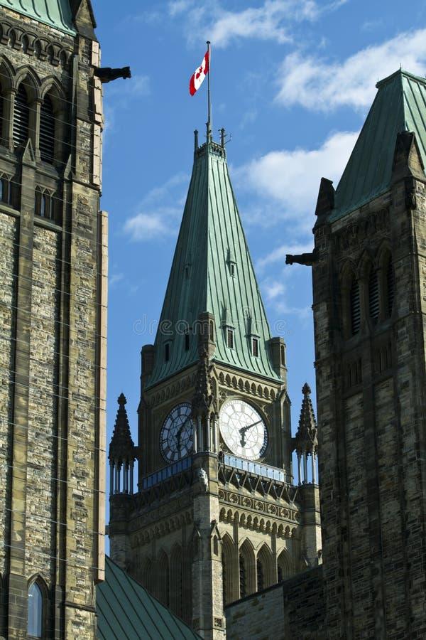 La torretta di pace sulla collina del Parlamento, Ottawa immagini stock libere da diritti