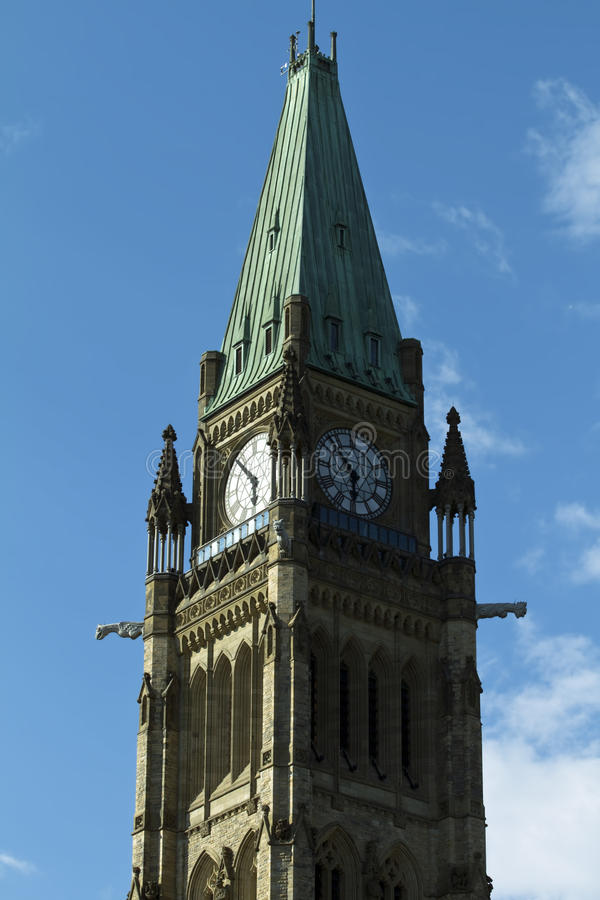 La torretta di pace sulla collina del Parlamento, Ottawa, Ontari fotografia stock