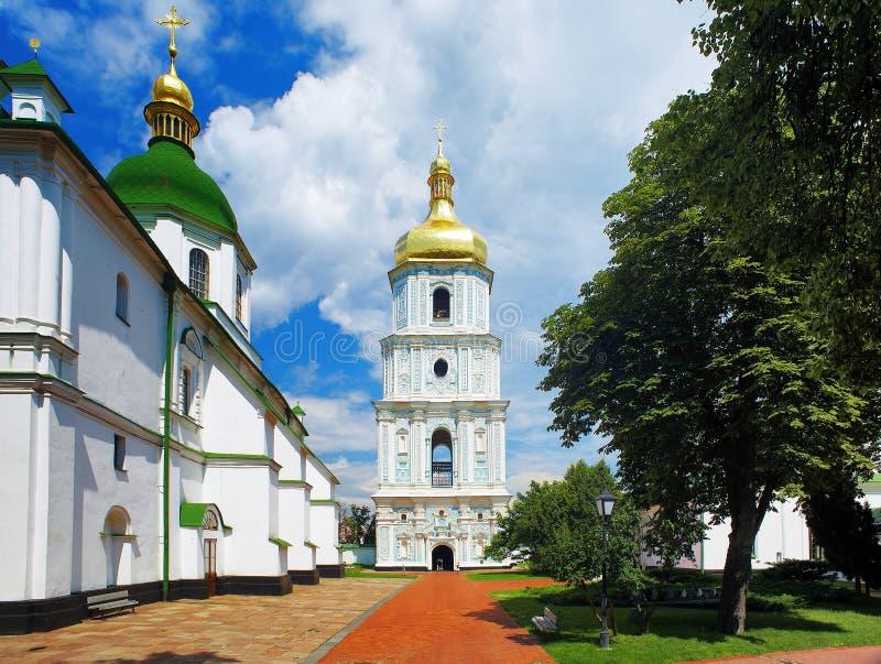 La torretta di segnalatore acustico della cattedrale della st Sophia a Kiev fotografie stock libere da diritti