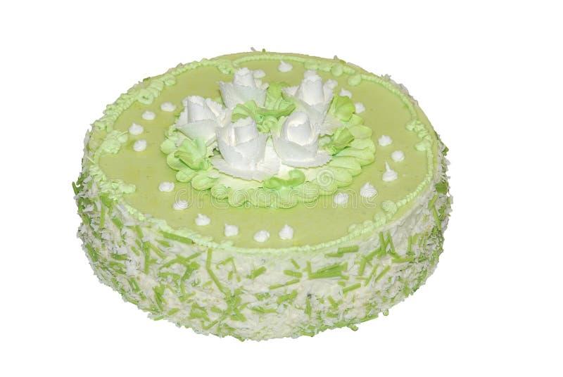 La torta condimentó el té verde adornado con las flores blancas imágenes de archivo libres de regalías