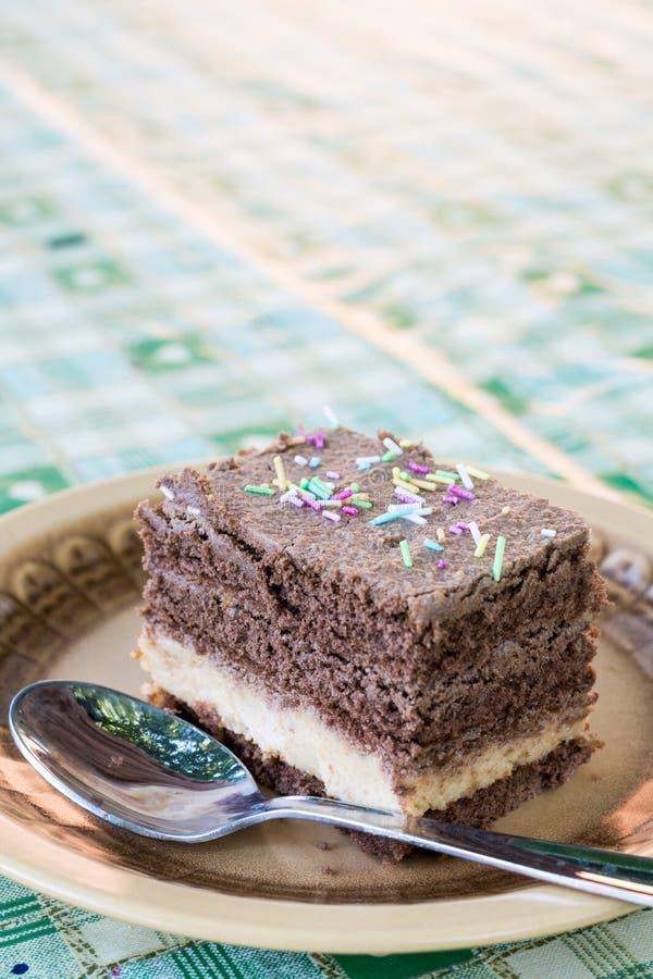 La torta de chocolate macra del primer con colorido asperja servido en la placa fotografía de archivo