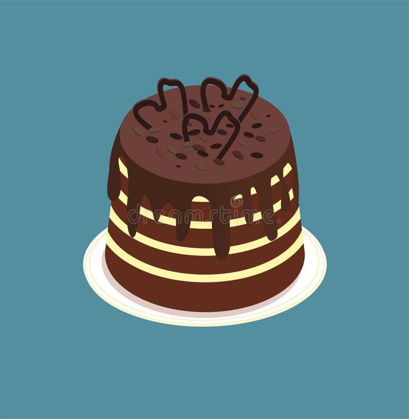 La torta de chocolate oscura isométrica con la confitura, con asperja Postre del soplo para los cafés, panaderías, menús, juegos  stock de ilustración