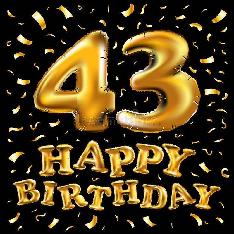 La torta de cumpleaños con las velas bajo la forma de icono del número 43 símbolo del cumpleaños Chispas del oro y ejemplo del br ilustración del vector