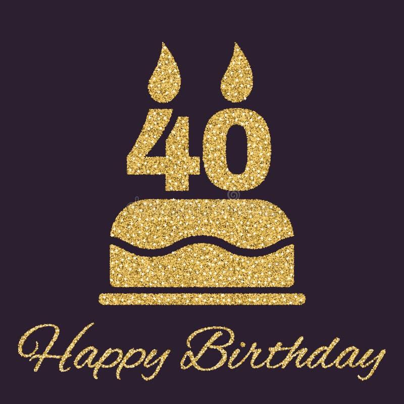 La torta de cumpleaños con las velas bajo la forma de icono del número 40 símbolo del cumpleaños Chispas y brillo del oro stock de ilustración