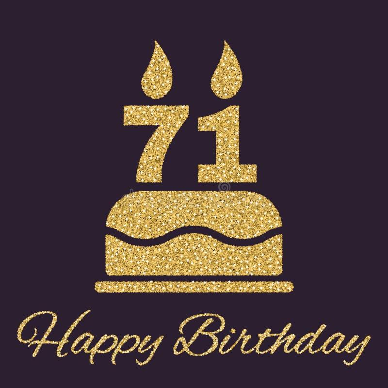La torta de cumpleaños con las velas bajo la forma de icono del número 71 símbolo del cumpleaños Chispas y brillo del oro stock de ilustración