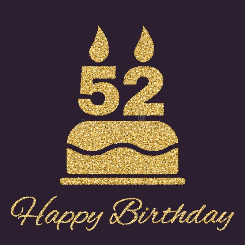 La torta de cumpleaños con las velas bajo la forma de icono del número 52 símbolo del cumpleaños Chispas y brillo del oro libre illustration