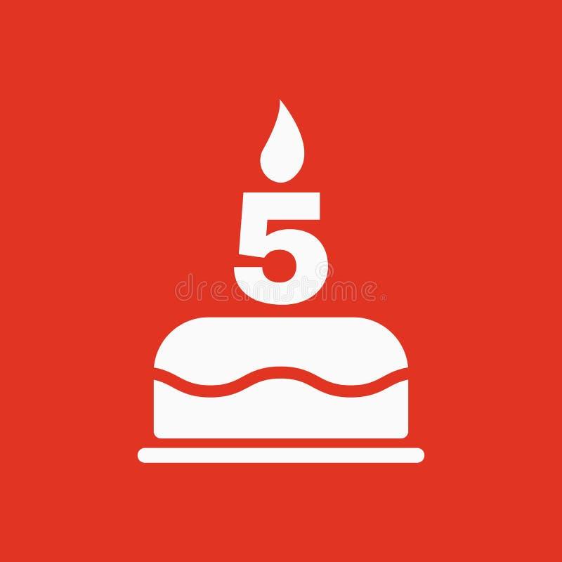La torta de cumpleaños con las velas bajo la forma de icono del número 5 símbolo del cumpleaños plano stock de ilustración