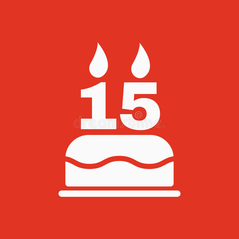 La torta de cumpleaños con las velas bajo la forma de icono del número 15 símbolo del cumpleaños plano libre illustration