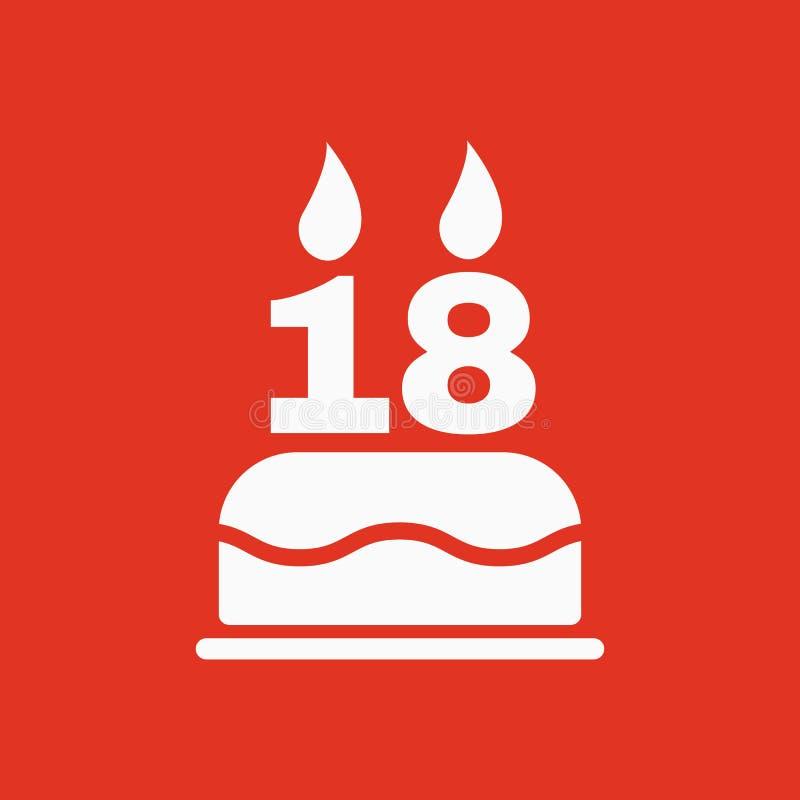La torta de cumpleaños con las velas bajo la forma de icono del número 18 símbolo del cumpleaños plano libre illustration
