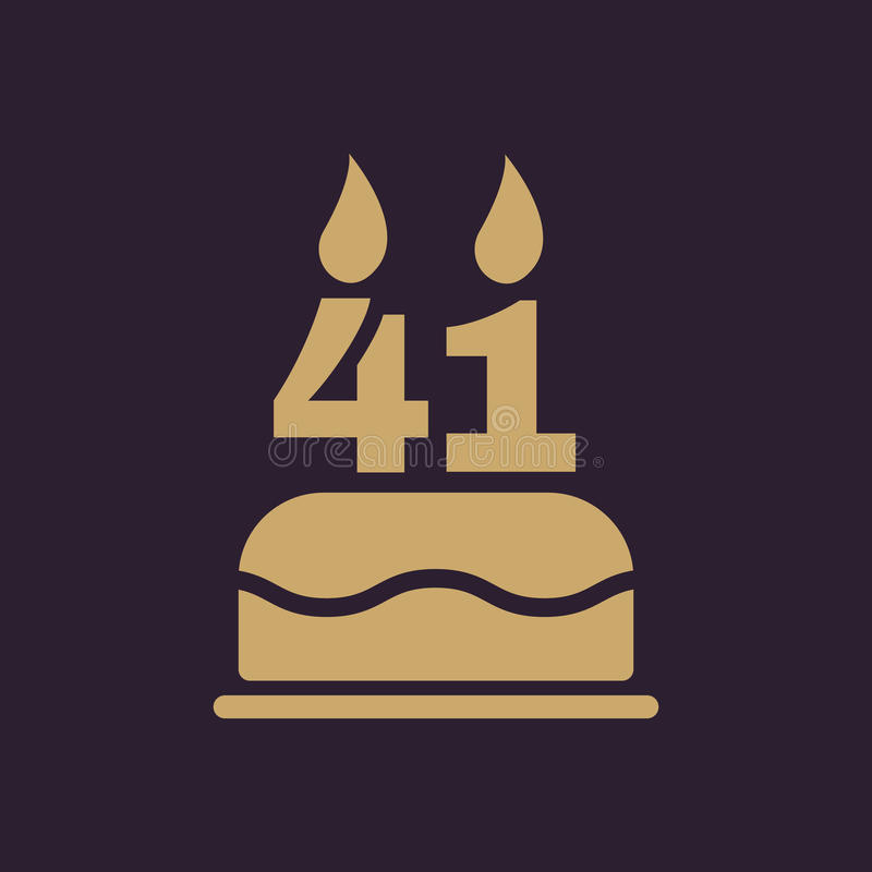 La torta de cumpleaños con las velas bajo la forma de icono del número 41 símbolo del cumpleaños plano libre illustration